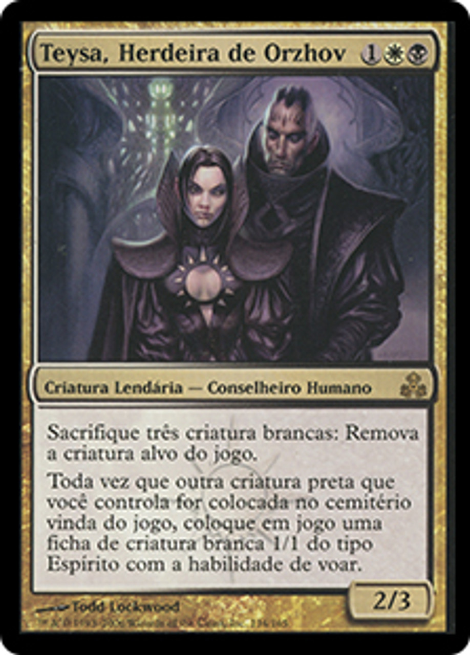Teysa Orzhov Scion Guildpact Portuguese Star City Games You may sacrifice teysa itself to help pay for its first ability, but unlike other white and black creatures, it won't cause its second ability to trigger. teysa orzhov scion sgl mtg gpt 134 ptn