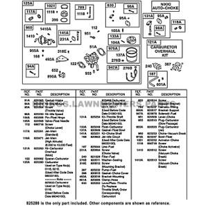 Parts lookup Briggs and Stratton 23 HP Carburetor 825280 OEM diagram