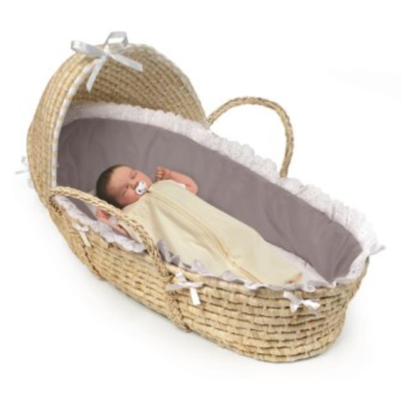 White Bedding Badger Basket Natural Moses Basket with Hood
