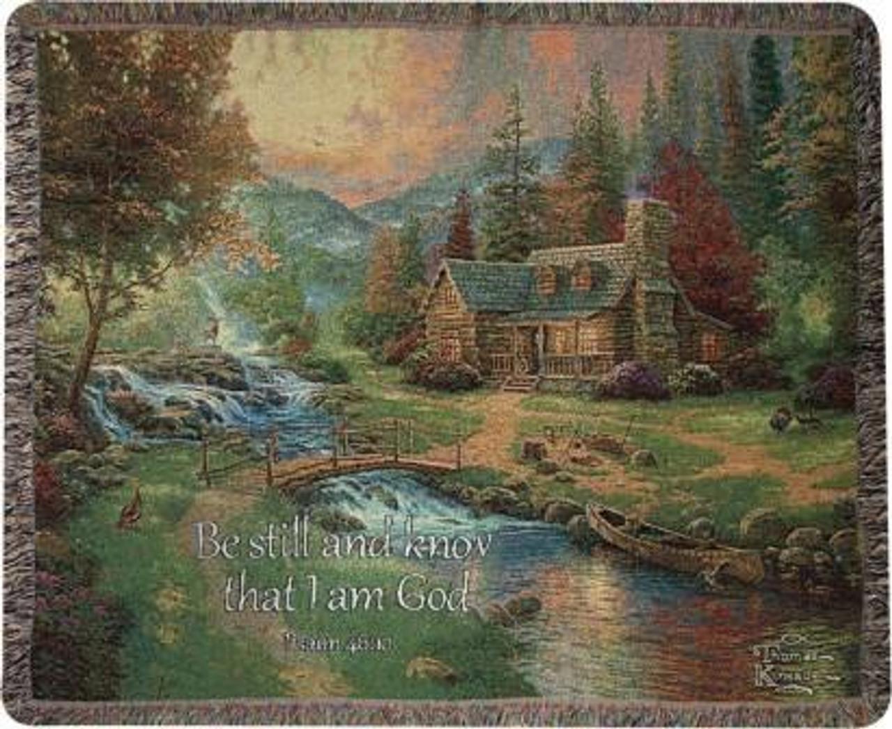 Thomas Kinkade Mountain Paradise With Verse Tapestry Throw