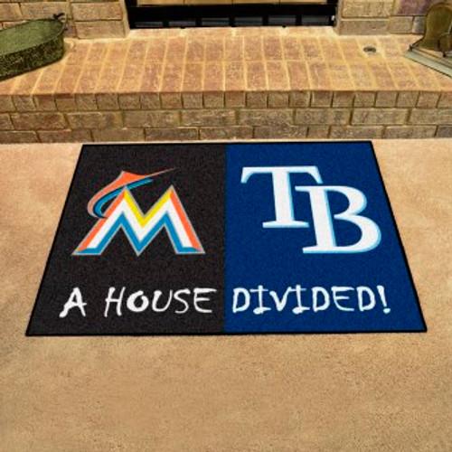 MLB House Divided Mat Marlins-Rays