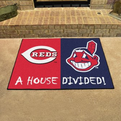 MLB House Divided Mat Reds-Indians
