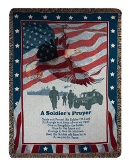 A SOLDIER'S PRAYER 50X60 TAPESTRY THROW