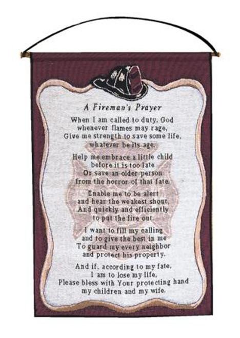 All Fired Up Firefighter Tapestry Bannerette-Fireman's Prayer