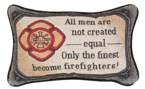 ALL FIRED UP FIREFIGHTER TAPESTRY PILLOW