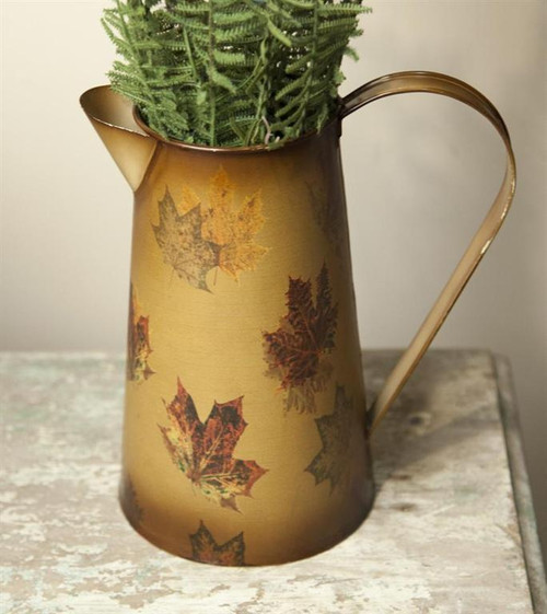 METAL PITCHER FALL LEAVES