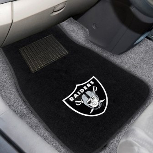 Oakland Raiders 2-pc Embroidered Car Mat Set
