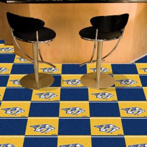 Nashville Predators Team Carpet Tiles-Logo On Gold