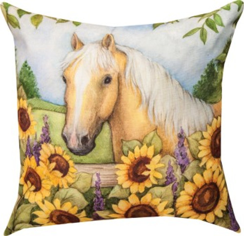 Horse In Florals Sunflowers Climaweave Pillow