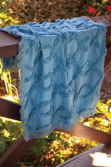 Izzy Tufted Cotton Blue Throw