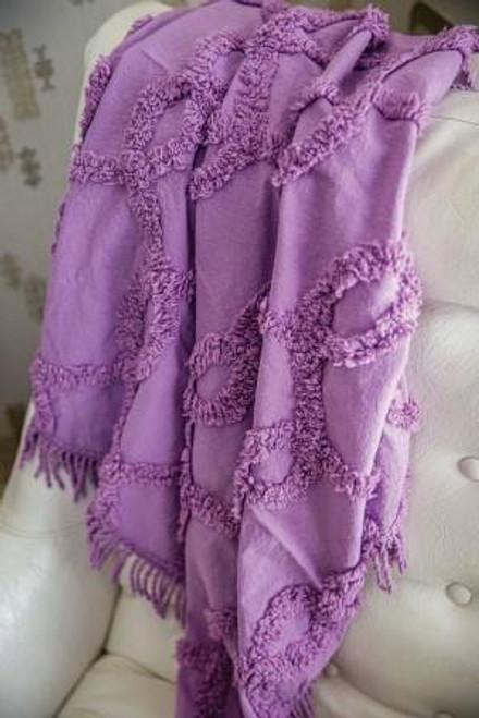 Izzy Tufted Cotton Lavender Throw