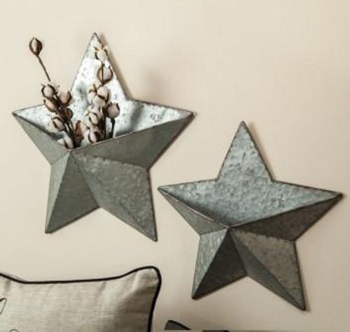 Galvanized Star Wall Pocket Assortment