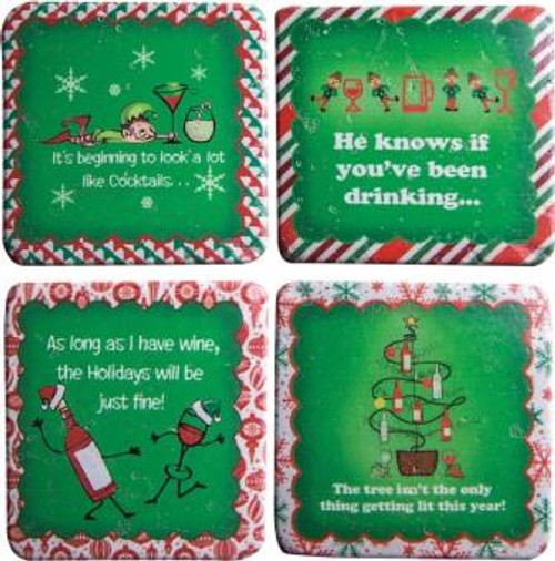 Christmas Wine Coaster Set