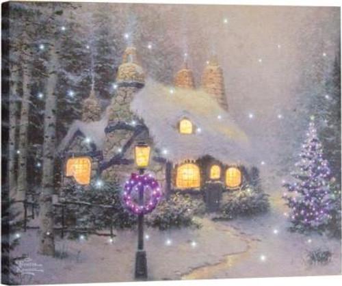 Thomas Kinkade Stonehearth Hutch Fiber Optic Canvas
