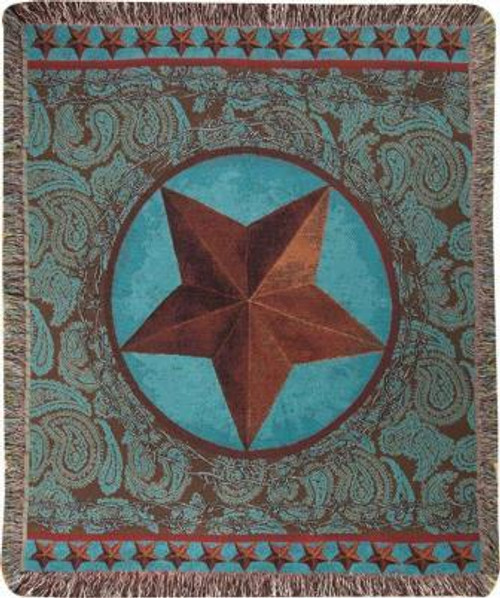 Western Star Red Tapestry Throw