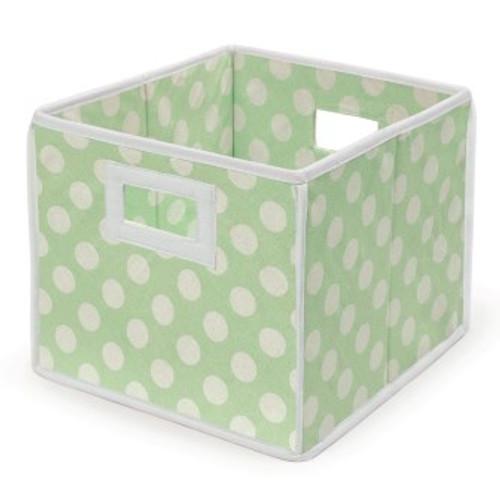 Folding Basket Storage Cube Sage Polka Dots