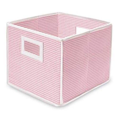 Folding Basket Storage Cube Pink Gingham