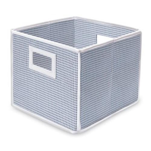 Folding Basket Storage Cube Blue Gingham