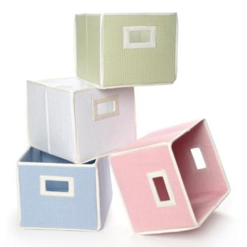 Folding Basket Storage Cube White Waffle