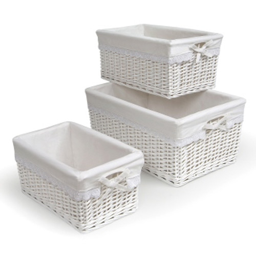 White Wicker Basket Set