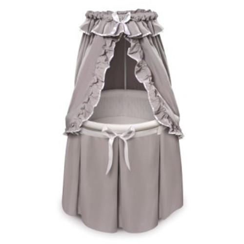 Empress Round Baby Bassinet-Gray Bedding