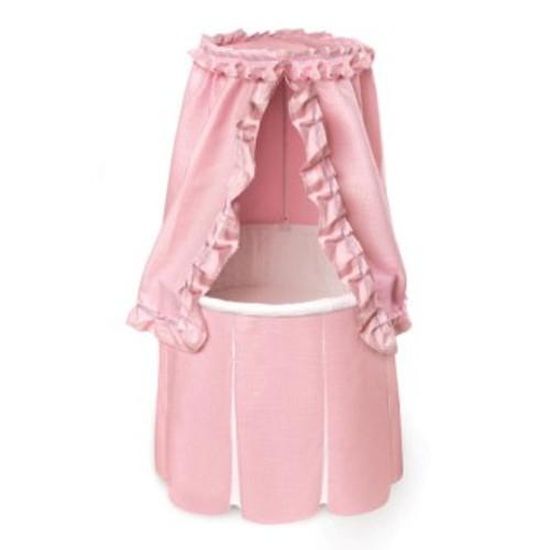 Empress Round Baby Bassinet-Pink Bedding - White Pleats