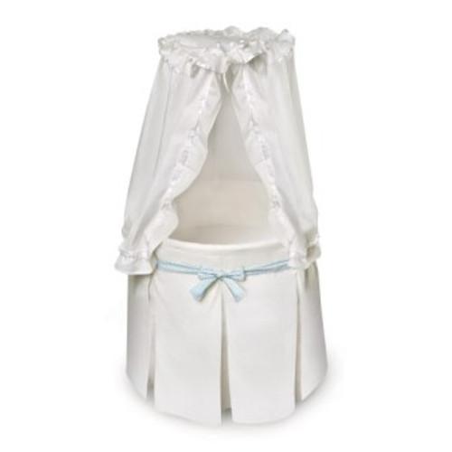 Empress Round Baby Bassinet-White Bedding - Gingham Belts