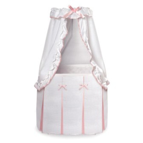 Majesty Baby White and Pink Bedding Canopy Bassinet