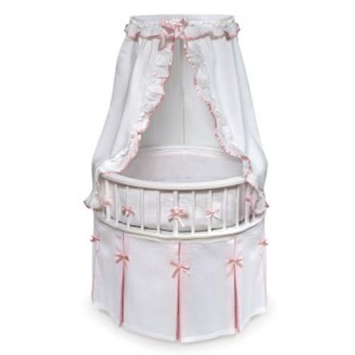 White Elegance Round Baby Bassinet - White Waffle & Pink Bedding
