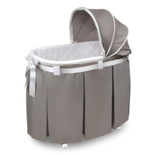 Wishes Gray Bedding Oval Bassinet