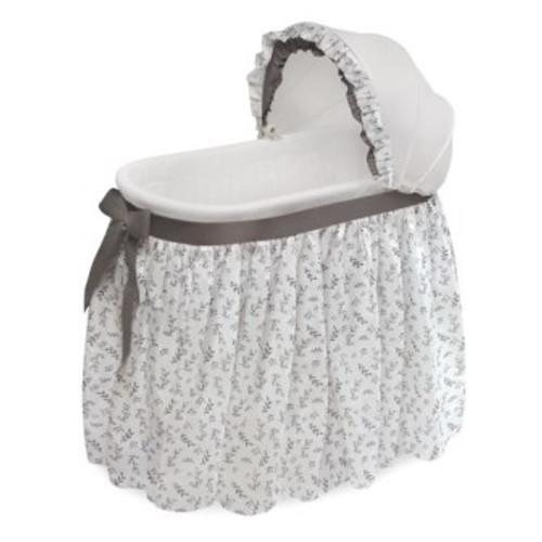 Wishes Gray Leaf Bedding Oval Bassinet