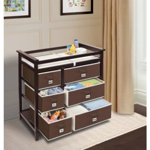 Modern Changing Table with 6 Baskets-Espresso