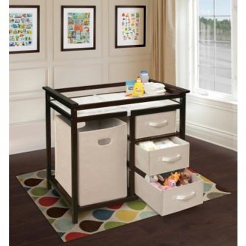 Modern Changing Table with 3 Baskets and Hamper-Espresso