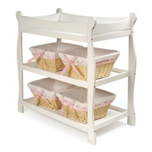 Sleigh Style Changing Table-White