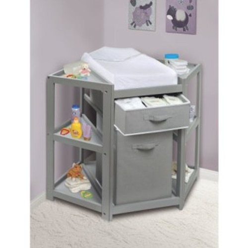 69269373b55 Diaper Corner Baby Changing Table with Hamper and Basket-Gray