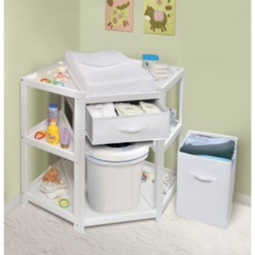 Diaper Corner Baby Changing Table with Hamper and Basket-White
