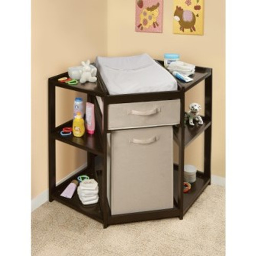 Diaper Corner Baby Changing Table with Hamper and Basket-Espresso