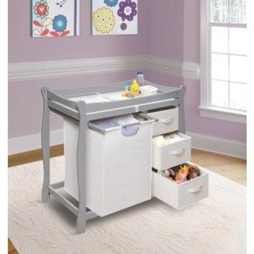 Sleigh Style Changing Table with Hamper and 3 Baskets-Gray