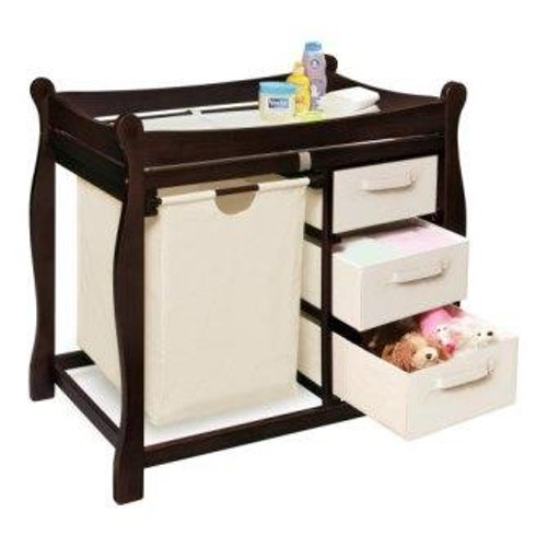 Sleigh Style Changing Table with Hamper and 3 Baskets-Espresso