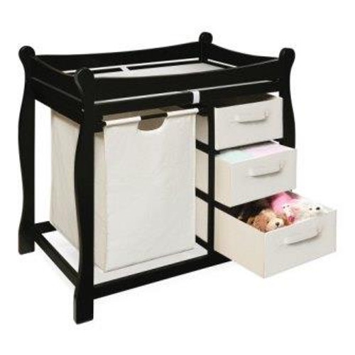 Sleigh Style Changing Table with Hamper and 3 Baskets-Black