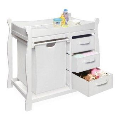 Sleigh Style Changing Table with Hamper and 3 Baskets-White