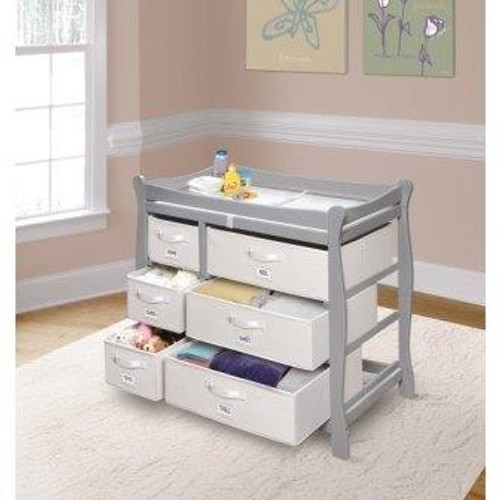 Sleigh Style Changing Table with Six Baskets-Gray