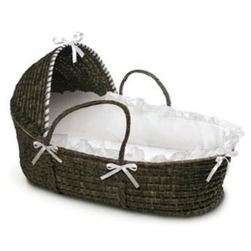 Espresso Moses Basket with Hood - White Bedding