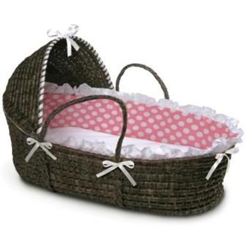 Espresso Moses Basket with Hood - Pink Polka Dot Bedding