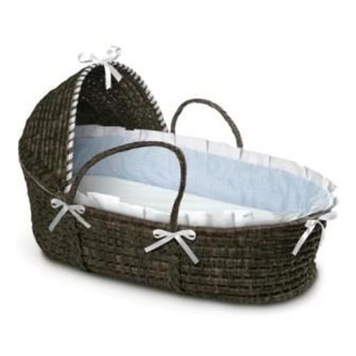 Espresso Moses Basket with Hood - Blue Gingham Bedding