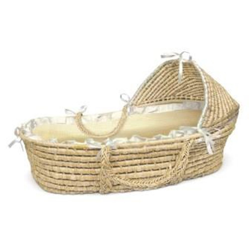 Natural Hooded Moses Basket with Beige Gingham Bedding