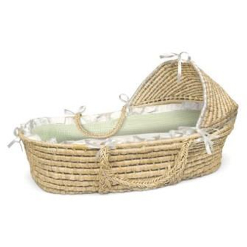 Natural Hooded Moses Basket with Sage Gingham Bedding