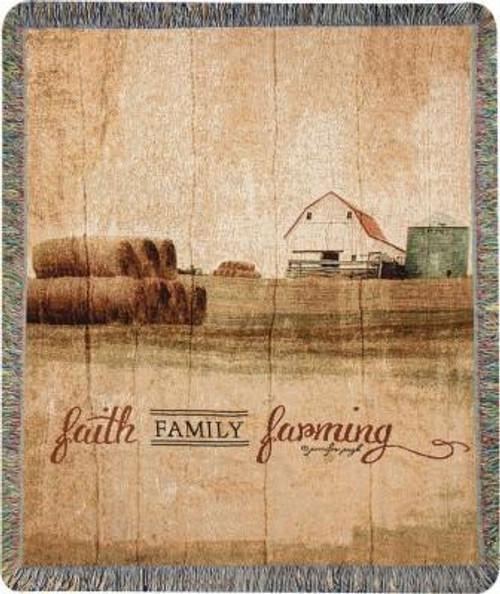 Faith Family Farming Tapestry Throw