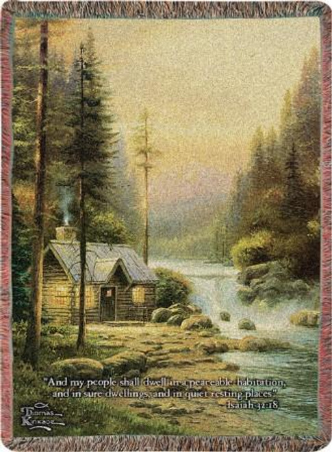 Thomas Kinkade Evening In The Forest with Verse Tapestry Throw