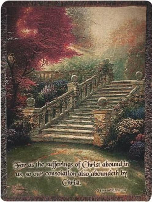 Thomas Kinkade Stairway To Paradise with Verse Tapestry Throw